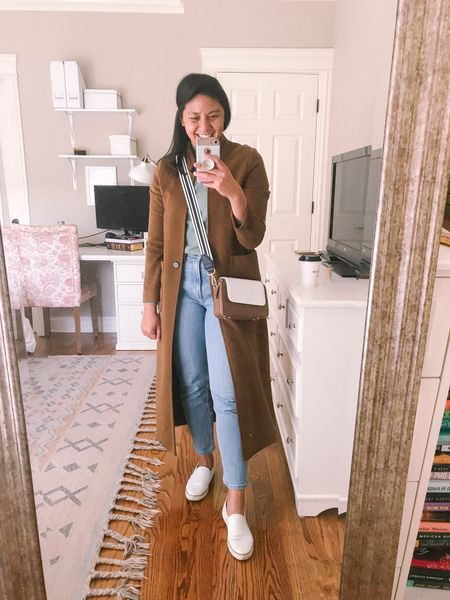 My go to fall outfit - this coatigan / sweater coat is great for layering. And then I'm wearing my favorite mocknexk sweater in sage green. It's so comfortable and fits true to size and only $24. It's an amazon find from their brand. Love the everlane cheeky jeans. I'm wearing ankle length jeans. Fits true to size. Then paired it white slip on sneakers.    #LTKstyletip #LTKunder100