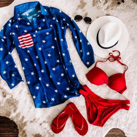 July 4th if just around the corner & you better believe I've already planned my outfit! Your girl doesn't need an excuse to outfit plan for a theme! ❤️⚪️💙 This cutie coverup is under $15! Download the LIKEtoKNOW.it app to shop this pic via screenshot! http://liketk.it/2CPFB @liketoknow.it #liketkit #LTKsalealert #LTKshoecrush #LTKspring #LTKstyletip #LTKswim #LTKunder50