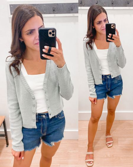 American Eagle try on // square neck cropped tank (s), cropped cardigan (xs), Tomgirl denim shorts (tts) http://liketk.it/3hF7E #liketkit @liketoknow.it #LTKstyletip