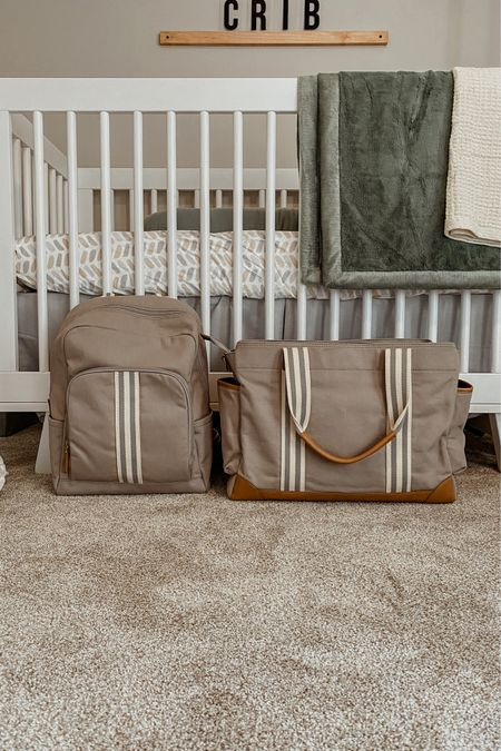 Our gender neutral diaper bags! We chose to do a diaper backpack for every day and a diaper tote bag for overnights or longer outings. These are such great quality and super spacious! Click to shop! 🤍 | Pottery Barn Baby, baby shower gifts, new mom gifts, new dad gifts   #LTKtravel #LTKbaby #LTKbump
