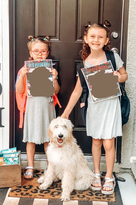 First day of school outfits! Love the gray dresses and metallic sandals!   #LTKkids #LTKshoecrush #LTKbacktoschool