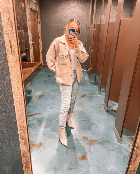 Beige shacket is a small. White bodysuit is a medium. Blue mom jeans are a 4. White booties to bring it all together ♥️ love this chic and casual outfit! http://liketk.it/3gLzb #liketkit #LTKunder50 #LTKstyletip #LTKunder100 @liketoknow.it