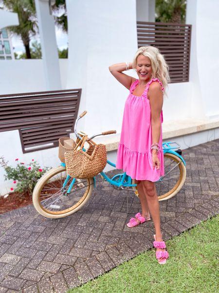 Pink dress - runs large so size down - use code KIM15 for 15% off!  Pink sandals TTS White bracelet stack Pink bracelet stack  Kendra Scott gold necklace  Target gold hoops  Summer dress, baby shower dress, vacation dress   #LTKtravel #LTKunder50 #LTKSale