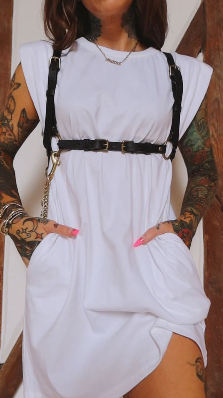 white tee dress #farfetch