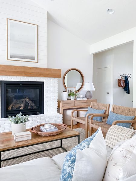 Living room design inspiration!  Loving the blue with the neutrals, white & wood!   You can instantly shop my looks by following me on the LIKEtoKNOW.it shopping app http://liketk.it/3gNED #liketkit @liketoknow.it @liketoknow.it.home   #LTKstyletip #LTKunder100 #LTKhome