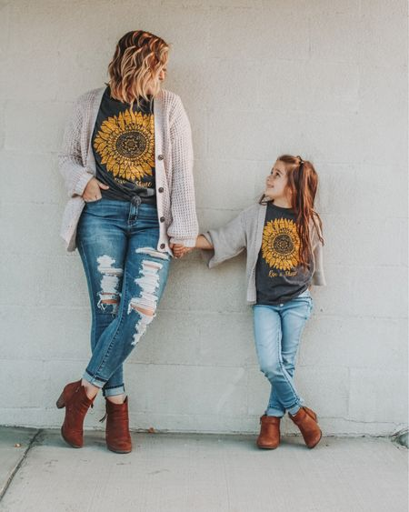 Mom and me, matching graphing tee, mom and daughter matching, casual matching, fall outfit, kid girl, fall girls outfit, distressed Jegging, cognac booties, target, American Eagle, mvptshirt, Etsy.   http://liketk.it/2YVbF #liketkit #LTKkids #LTKfamily #LTKsalealert @liketoknow.it @liketoknow.it.family
