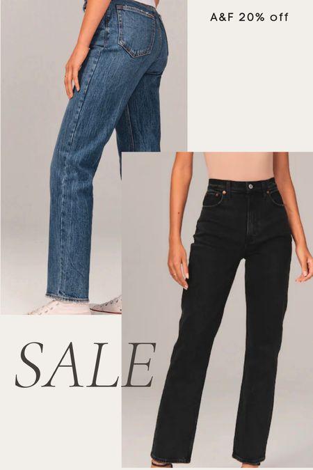 Abercrombie denim on sale, black jeans, high waisted jeans, straight leg jeans   #LTKunder100 #LTKstyletip