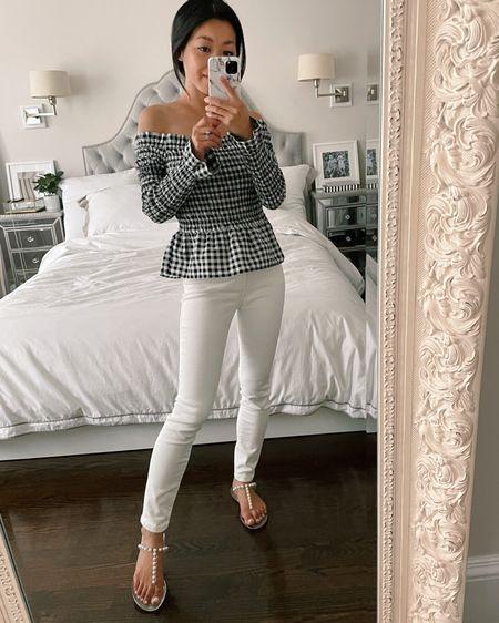 H&M gingham smocked top Xs, everlane jeans 24 ankle (petite friendly length), Stuart weitzman Goldie jelly Pearl sandals (waterproof so great shoes for pool or beach) http://liketk.it/3j2u8 #liketkit @liketoknow.it #LTKunder50 #LTKswim #LTKsalealert