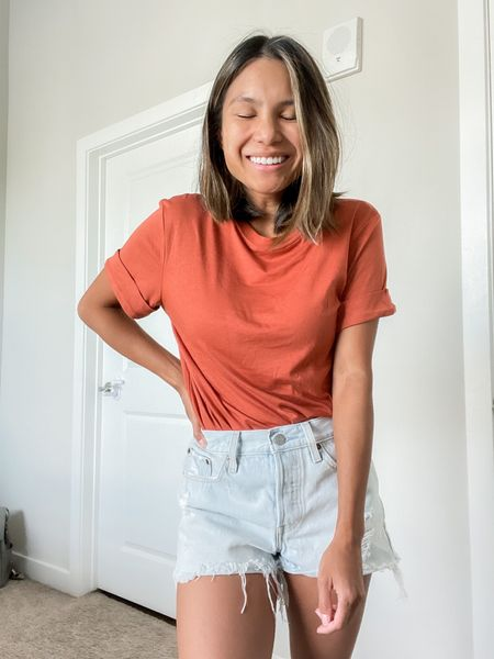 """Transition into the fall season with theee cuffed tees by A New Day from Target. Just $8 each! Wear with shorts, joggers, jeans, pants, the list is endless. Wearing color """"Rust""""  #LTKstyletip #LTKunder50 #LTKSeasonal"""
