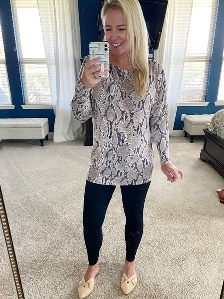 This tunic tee (currently on #sale at #Express for $33) is a great fall piece that's lightweight and perfect with leggings. It also would be great to layer with a faux fur vest. These mules are on solid repeat, too!   #LTKsalealert #LTKSeasonal #LTKunder50