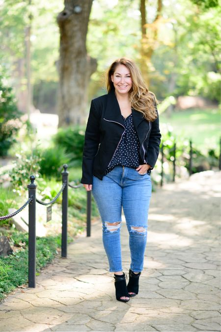 Gibsonlook x The Recruiter Mom Fall Outfit  Black Moto Jacket, not a lot of stretch, L // V-neck blouse, size up for larger chest, L // Jeans, tts 12 // booties  Fall Style  Women's Clothing  Fall Outfits  #LTKSeasonal #LTKstyletip #LTKshoecrush