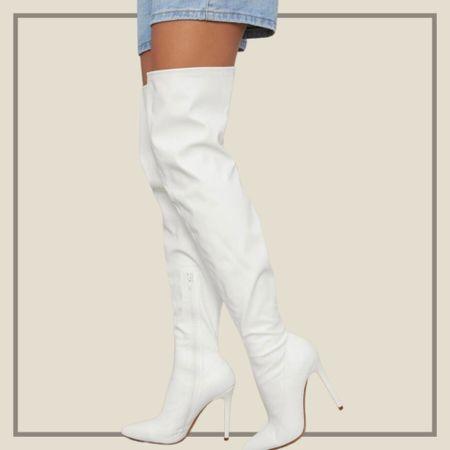 White thigh high stiletto boots from Shein   #LTKshoecrush #LTKstyletip #LTKunder50