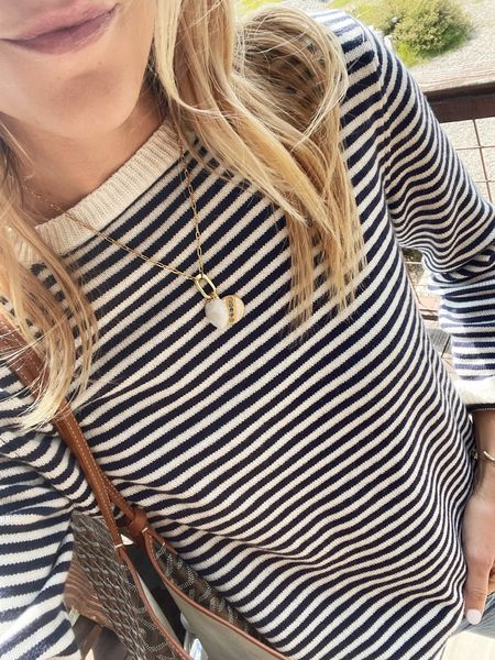 Gold charm necklace (tons of great charms to build your own necklace with!), stripe cashmere sweater is Bay by Merryn  #LTKSeasonal #LTKunder100 #LTKunder50