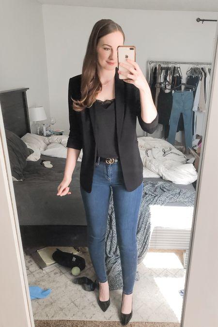Black boyfriend blazer, business casual outfit, realtor outfit, real estate outfit, black patent pumps heels  #LTKworkwear