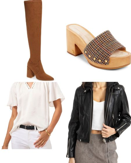Nordstrom Sale favorites. The BlankNYC faux leather jacket can't be beat. The over the knee boots are the beta color for fall. The Vince top is a staple. Obsessed with the clogs.   #LTKshoecrush #LTKsalealert #LTKunder100
