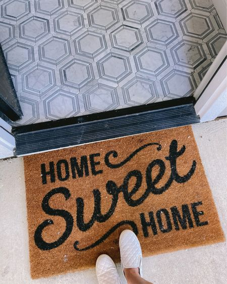 """I wasn't too sure how the entry tile would look put in. I found the pattern online and became obsessed! I did a """"Hail Mary"""" and took a chance on purchasing it hoping it would look good in our place and I couldn't be happier! It's such a fun pattern to welcome your guest!!   The doormat come in 2 sizes and starts at just $13! And my shoes are on clearance for only $21 and goes with so many skirts, jeans, casual dresses and shorts. I wear these shoes so so much. Happy Father's Day!!    Download the LIKEtoKNOW.it shopping app to shop this pic via screenshot. http://liketk.it/2QTZ2 #liketkit @liketoknow.it @liketoknow.it.home @liketoknow.it.family #LTKsalealert #LTKstyletip #LTKunder50"""