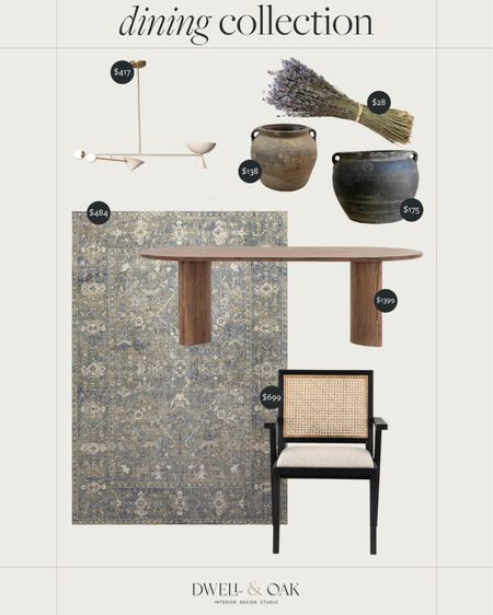 A curated dining collection with a gorgeous modern light fixture from Etsy, caned chairs from Crate & Barrel, as well as vintage vases, #cratesndbarrel #diningtable #diningroom   #LTKhome #LTKstyletip