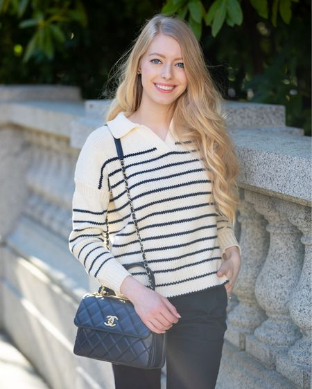 Navy and white striped sweater with collar. Perfect for spring and summer. Nautical old money style. Paired with navy trousers, white tie heels.  Alex mill, Nordstrom signature Chanel trendy cc small.   #LTKunder100 #LTKstyletip #LTKitbag