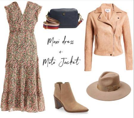 Fall outfit, fall maxi dress, Moto jacket, booties #LTKshoecrush #LTKunder100 #LTKitbag   http://liketk.it/3oeUS @liketoknow.it #liketkit