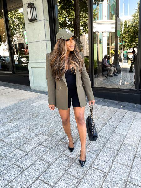 Fall fashion. Everything I am wearing runs true to size. #bikershorts #bodysuit #ae #abercrombie #a&f #americaneagle #nyhat #hat #47hat #blazer   #LTKsalealert #LTKstyletip #LTKSeasonal