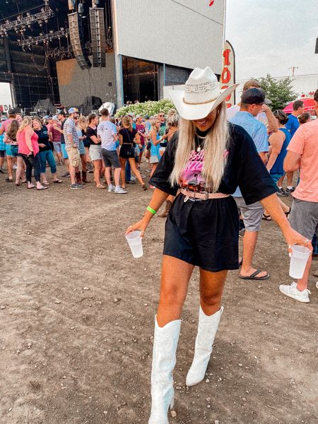 country outfit // concert outfit // western style // t shirt dress // oversized graphic tee // white cowboy boots // cowboy hat // pink belt   #LTKunder50 #LTKshoecrush #LTKstyletip