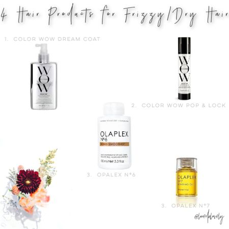 4 products for dry/frizzy hair!  For more info on each of them and how to use them, checkout my newest blog post on lacedinlovely.com Opalex N°6, Opalex N°7, COLOR WOW dream coat, Color Wow Pop & Lock hair serum  #LTKunder50 #LTKbeauty #LTKstyletip