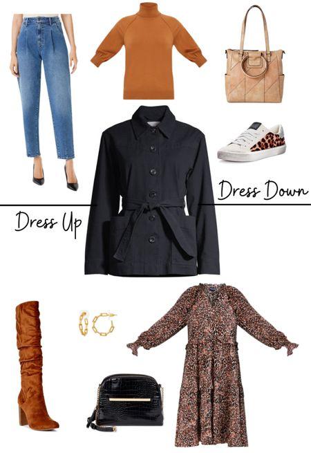 One jacket, two ways. #ad #walmartfashion   Fall outfit, fatigue jacket, floral midi dress, tall boots, crossbody bag, leopard sneakers, pleated jeans, turtleneck, tote handbag   @walmart @walmartfashion   #LTKunder50 #LTKitbag #LTKSeasonal