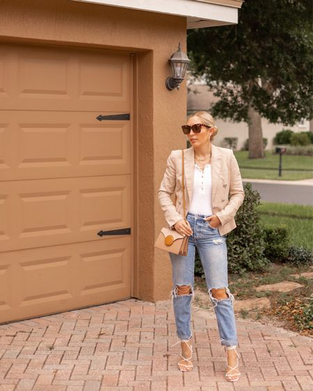 Working from home today, but this is one of my favorite ways to mix casual style and workwear. Pair some destroyed denim with a chic blazer. I rented this one from @veronicabeard off @renttherunway and now after wearing it I need to get one of my own!!! Their blazers fit soooooo well. What are your favorite blazer brands? . . . #veronicabeard #renttherunway #chicstyle #workwear #businesscasual #workingfromhome #destroyeddenim #neutrals #thefashionableaccountant #savvyshopping #orlandoblogger  #LTKworkwear #LTKitbag #LTKstyletip