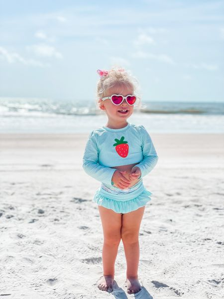 """What's sweet, salty & berry sandy? 😉🍓 we're ready to squeeze in a few more beach days before the season's """"officially"""" over, but I have a feeling we have plenty of time 🌊 What's the weather like where you're at? Is it fall already?! ☀️🍁   #LTKbaby #LTKswim"""