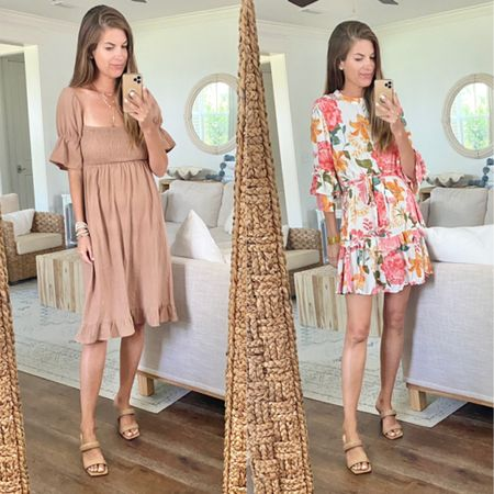 Use code SHOPRACHEL for 15% off these wedding guest dress options. The code works for anything on the petal and pup website.  I'm wearing xs in the brown dress and small in the floral option  (true to size).