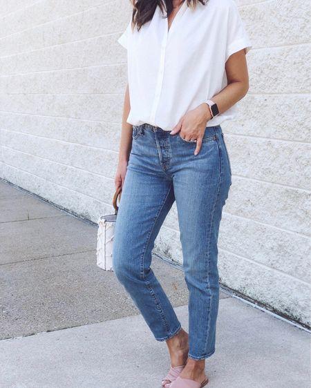 Shirt in xs - it's very relaxed fit/slightly oversized. Jeans tts for me.    http://liketk.it/3iVSC @liketoknow.it #liketkit #LTKsalealert #LTKunder100 #LTKstyletip