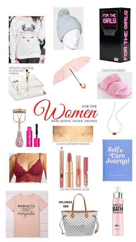 Christmas Gift Guide for Women. Gift ideas for your bestie, mom, sister, or girlfriends. Shirt, beanie, makeup, Pillow Talk set, fuzzy slippers, initial necklace, Kendra Scott, Tarte, checkered tote. http://liketk.it/31kdh @liketoknow.it #liketkit #LTKgiftspo #LTKunder50 #LTKunder100 #LTKbeauty #LTKsalealert