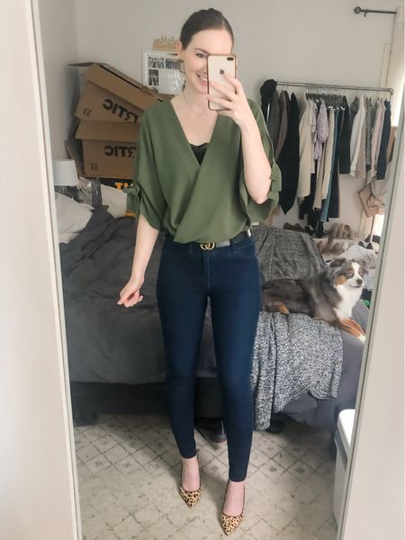 http://liketk.it/3iL6V #liketkit @liketoknow.it business casual, olive green blouse, wrap top, dark wash skinny jeans, leopard heels #LTKworkwear