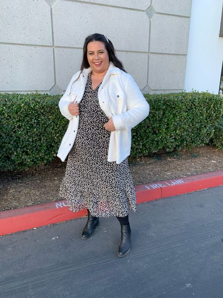 This cozy fuzzy white shacket (plus size) is perfect for warming up anything! I paired it with this dress! I think it would be cute with jeans or as a date night outfit!   #LTKunder50 #LTKcurves #LTKstyletip