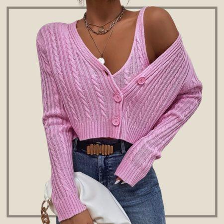 Cable knit cardigan with matching top  #LTKunder100 #LTKstyletip #LTKunder50