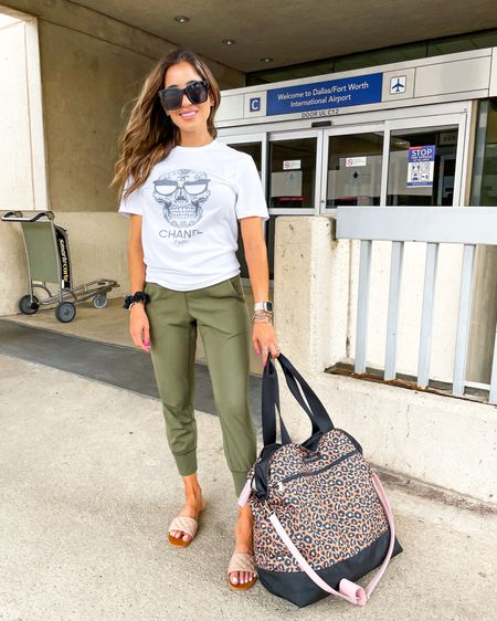 Comfy Amazon joggers in xs sandals 20% off with belbel20 // Chanel graphic tee in Xs 10% off with adoubledose // leopard travel tote washable 15% off with SAMANTHA15 http://liketk.it/3hhKt  #liketkit @liketoknow.it #LTKunder50 #LTKshoecrush