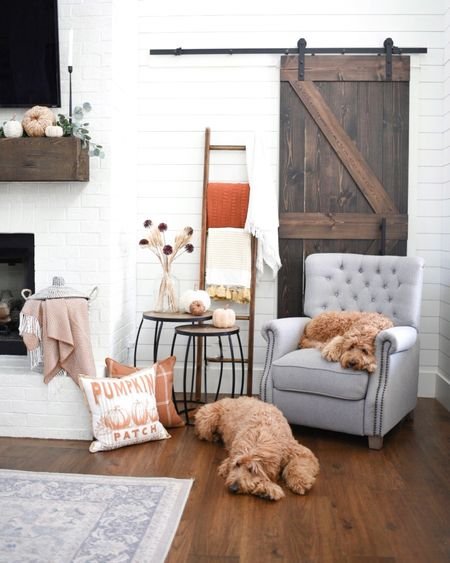 Fall and seasonal decor. Living room modern farmhouse style. Barn doors. Reclining tufted chair nesting tables Serena and lily baskets blanket ladder throw pillows pumpkins stems hearth and mantle decor   #LTKunder50 #LTKhome #LTKSeasonal
