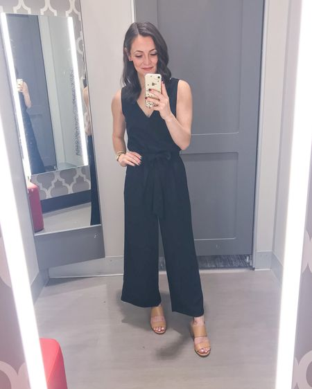 Give a girl a jumpsuit and she can conquer the world! This black jumpsuit is not only extremely comfortable but also super versatile! Pair it with heels and a blazer for work, pumps and a leather jacket for date night, or a jean jacket with sandals or sneakers for the weekend. It's available in black, blush and olive. Runs TTS and only $30!  Jumpsuit: XS Heels: 6   http://liketk.it/2L2ae #liketkit @liketoknow.it #LTKspring #LTKworkwear #LTKstyletip