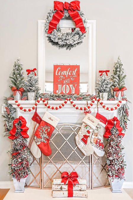 http://liketk.it/2I0GU  Christmas Fireplace Decor  Mantle Decor  Flocked Christmas mini trees  Flocked wreath  Birch wood  Red Velvet ribbon   #LTKholidayathome #LTKhome #LTKholidaystyle @liketoknow.it.home  #liketkit @liketoknow.it