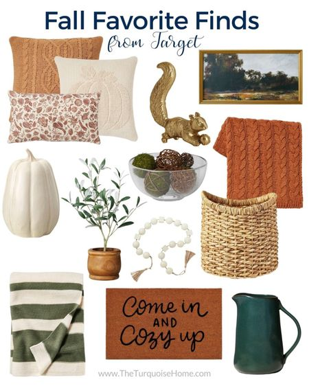What's your favorite? Blue and neutral or green and rust? I've gathered some great Target home finds for fall! I have that cable knit pillow and it's the best pillow for fall and winter – love the new colors! And that gold squirrel couldn't get into my cart fast enough! It's all such a great way to bring fall into your home!  .  Items include cable knit throw pillow, cream pumpkin pillow, floral rust throw pillow, gold squirrel figurine, landscape framed canvas, cream ceramic pumpkin, faux olive leaf potted plant, ceramic bead garland, chunky round woven basket, green color block stripe throw blanket, come in and cozy up doormat, green pitcher, cable knit throw blanket, decorative wrapped moss ball filler    #LTKunder100 #LTKhome #LTKunder50