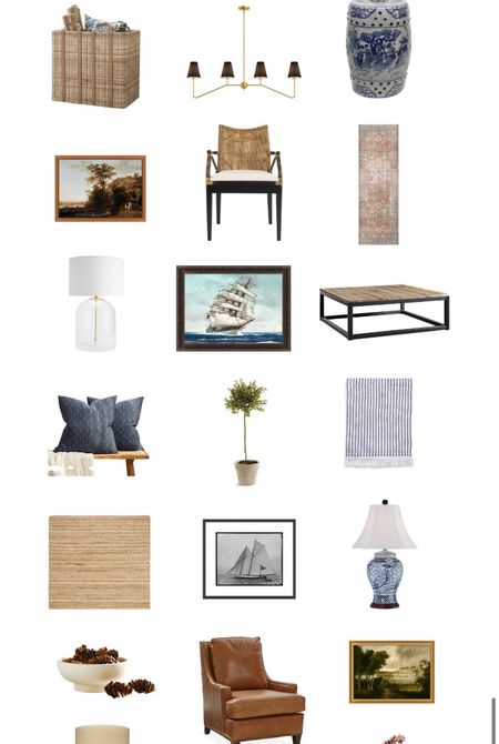 Casual traditional style, fall decor, jute rug, artwork, lamps, blue and white, topiary   #LTKhome