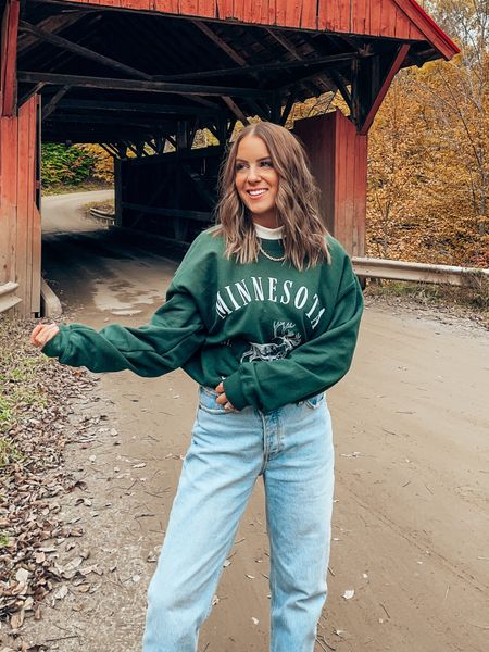 Turtleneck layered with graphic sweatshirt from Etsy & dad jeans! Sweatshirt comes in lots of prints incl diff states! All TTS, wearing M in sweatshirt, 26S in jeans   #LTKtravel #LTKSeasonal #LTKunder100