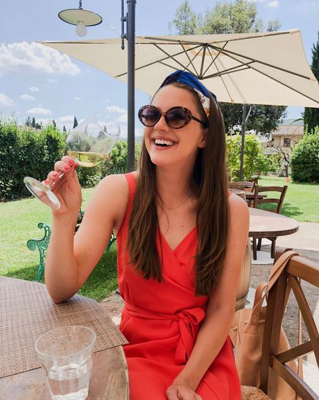 What I wore wine tasting in Tuscany! I love Everlane's wrap dresses! They run a little big, FYI! Also linking similar scarf! http://liketk.it/2x7Tf #liketkit @liketoknow.it