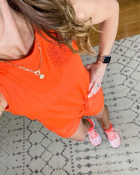 Summer style, workout gear, mom style, athleisure, bright orange, Autumn color style.    http://liketk.it/3gVSr #liketkit @liketoknow.it #LTKunder100 #LTKunder50 #LTKshoecrush