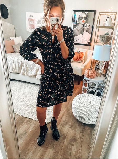 Time and Tru dress fits TTS styled with Steve Madden combat boots.   Trending, Walmart fashion, Walmart, dresses, combat boots, trendy outfit, casual workwear, workwear, weekend outfit, date night outfit   #LTKstyletip #LTKsalealert #LTKunder50