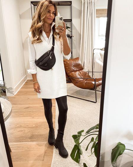 Sweater dress, spanx leggings, rag & bone boots, fall outfit, minimal outfit, Herfashionedlife   #LTKunder100 #LTKstyletip #LTKSeasonal