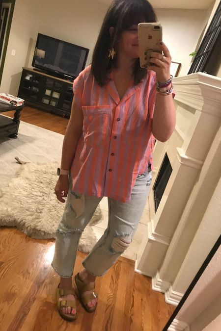 Jeans are on sale and run true to size. I sized up to a medium in the shirt for any additional length I could get and it works great with a bralette under it since the arm holes are a little big. Birks I wear a 37 and am typically a 6.5/7... these are by far the comfiest pair I own and they were straight out of the box! http://liketk.it/3gtPS #liketkit @liketoknow.it