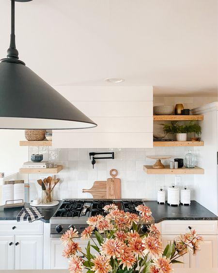 Warm and Neutral Modern Farmhouse Kitchen by Peggy Haddad Interiors Floating Shelf Styling and Decor http://liketk.it/2W6j4 #liketkit @liketoknow.it #StayHomeWithLTK #LTKhome @liketoknow.it.home #LTKunder100