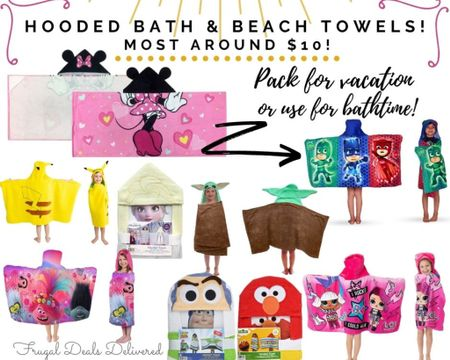 Beach and bath hooded kids towels most around only 10 bucks!! I use for the pool during the summer and the bath for all other months! Makes a great Easter basket gift! Get ready for spring break or a beach pool vacation with your adorable character towels! Which one is your fav? Shop the picture by visiting the LIKEtoKNOW.it app and following FrugalDealsDelivered!    Screenshot this pic to get shoppable product details with the LIKEtoKNOW.it shopping app http://liketk.it/39bA7 #liketkit @liketoknow.it #LTKkids #LTKswim @liketoknow.it.family #LTKtravel