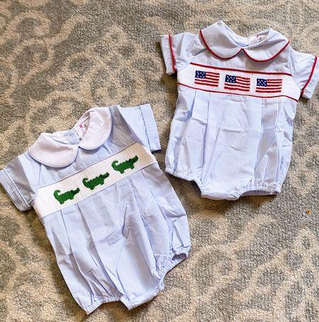 Baby boy Fourth of July smocked bubble!  Baby boy alligator smocked bubble!  Both under $35 and PRECIOUS!!!   #babyboyclothes  #babyboysmocked #babyboy #smocked #elizajames  #LTKbaby #LTKfamily